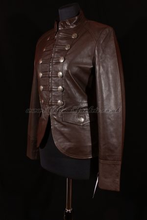 Ladies SHORT MILITARY Brown Lambskin Real Genuine Soft Leather Classic Parade Womens Jacket