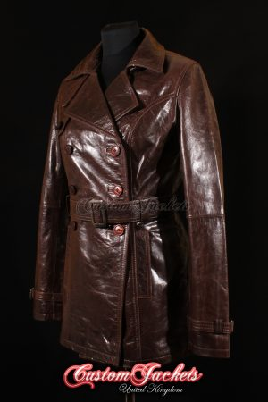 Ladies PARIS Brown Glazed Lambskin Leather Classic Elegant Hip-Length Womens Trench Coat Jacket