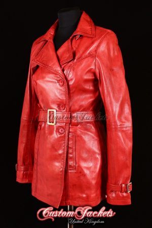 Ladies PARIS Red Washed Lambskin Real Leather Classic Elegant Hip-Length Womens Trench Coat Jacket