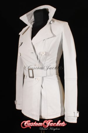 Ladies PARIS White Nappa Lambskin Genuine Leather Classic Elegant Hip-Length Trench Coat Womens Jacket
