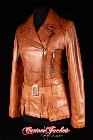 Ladies PRAGUE Tan Washed Lambskin Real Leather Retro Hip-Length Biker Style Womens Jacket