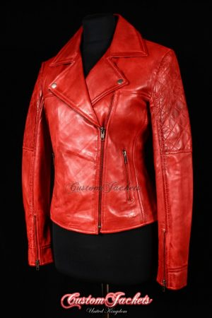 Ladies RAVEN Red Washed Lambskin Leather Designer Simple Cruiser Motorcycle Biker Style Womens Jacket