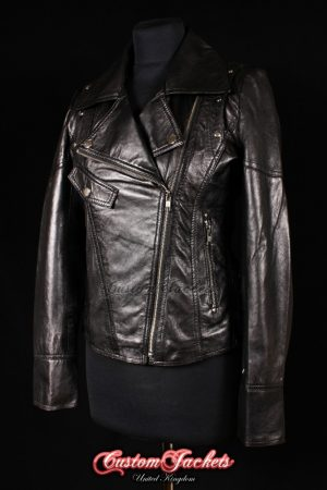 Ladies SIREN Black Lambskin Real Leather Motorcycle Laced Slim-fit Fitted Biker Style Womens Jacket