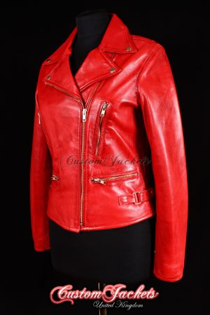 Ladies VIXEN Red Washed Lambskin Leather Motorcycle Short Slim-fit Fitted Biker Style Womens Jacket
