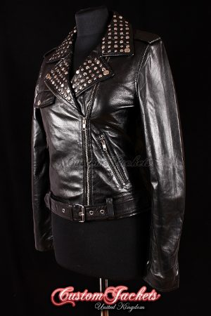 Ladies ROCKSTAR Black Lambskin Real Leather Silver Studded Collar Motorcycle Biker Style Womens Jacket