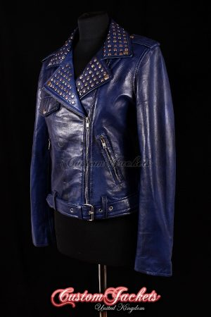 Ladies ROCKSTAR Blue Washed Lambskin Real Leather Silver Studded Collar Motorcycle Biker Style Womens Jacket