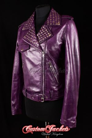 Ladies ROCKSTAR Purple Washed Lambskin Genuine Leather Silver Studded Collar Motorcycle Biker Style Womens Jacket