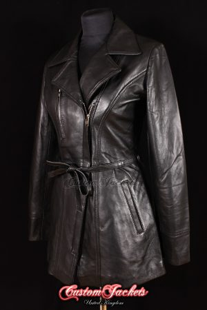 Ladies SABRINA Black Lambskin Real Genuine Soft Leather Smart Classic Belted Hip-Length Coat Womens Jacket