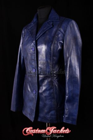 Ladies VENUS Blue Washed Lambskin Real Leather Classic Smart Casual Hip-Length Womens Coat Jacket