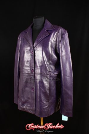 Ladies VENUS Purple Washed Lambskin Real Leather Classic Smart Casual Hip-Length Womens Coat Jacket