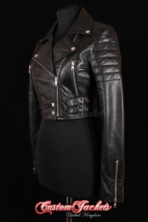 Ladies VOGUE CROPPED Black Lambskin Leather Short Biker Motorcycle Style Quilted Womens Blouson Jacket