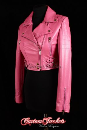 Ladies VOGUE CROPPED Pink Lambskin Real Leather Short Biker Motorcycle Style Quilted Womens Jacket