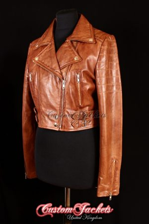 Ladies VOGUE CROPPED Tan Washed Lambskin Leather Short Biker Motorcycle Style Quilted Womens Jacket