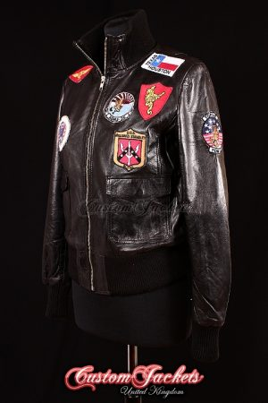 Ladies TOP GUN AVIATOR Black Lambskin Real Leather Bomber Style Womens Short Jacket