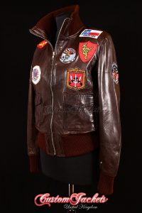 Ladies TOP GUN AVIATOR Brown Washed Lambskin Leather Bomber Style Womens Blouson Jacket