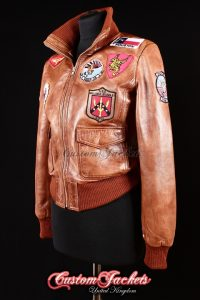 Ladies TOP GUN AVIATOR Tan Washed Lambskin Real Leather Bomber Style Womens Roll Neck Jacket