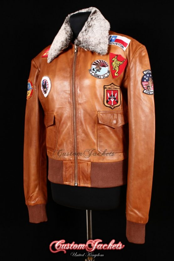 Ladies TOP GUN FUR COLLAR Tan Washed Lambskin Leather Aviator Bomber Style Womens Blouson Jacket