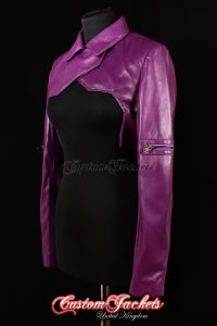 Ladies GHOST in SHELL SHRUG Purple Lambskin Leather Cosplay Manga GIG Open Front Womens Waistcoat Jacket