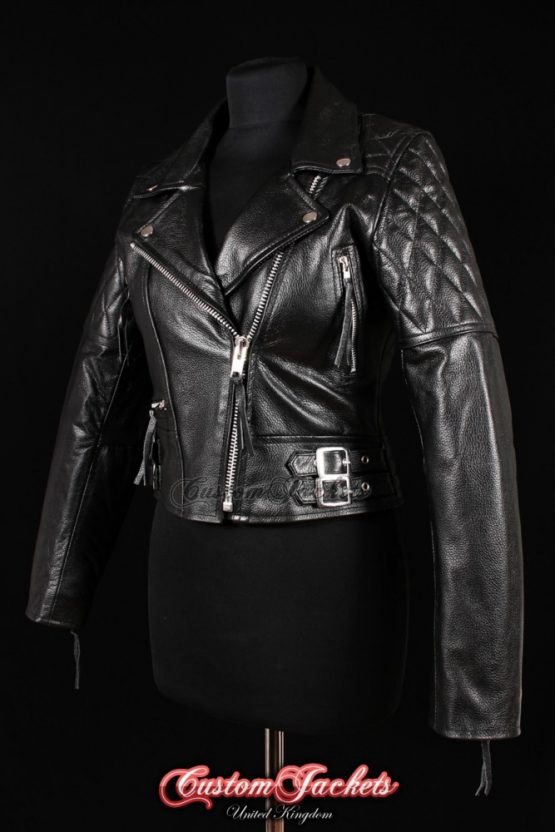 Ladies HIGHWAY Black Cowhide Real Leather Biker Motorcycle Motorbike Cruiser Blouson Jacket