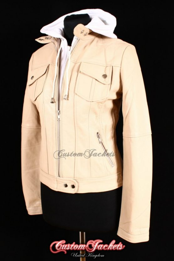 Ladies URBAN HOODED Beige Lambskin Leather Cotton Hood Bomber Style Womens Jacket