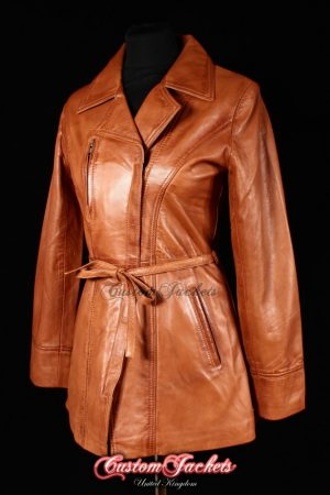 Ladies SABRINA Tan Washed Lambskin Real Leather Smart Classic Belted Womens Hip-Length Coat Jacket