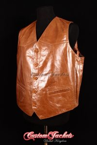 Men's AUTOGRAPH Tan Glazed Lambskin Real Genuine Soft Leather Smart Waistcoat