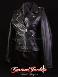 Ladies BRANDO Black Cowhide Real Genuine Leather Motorbike Biker Motorcycle Blouson Jacket