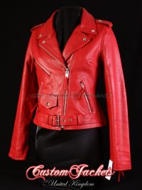 Ladies BRANDO Red Cowhide Real Genuine Leather Motorbike Biker Motorcycle Blouson Jacket