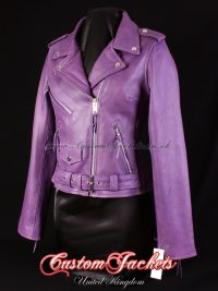 Ladies BRANDO Purple Cowhide Real Genuine Leather Motorbike Biker Motorcycle Blouson Jacket