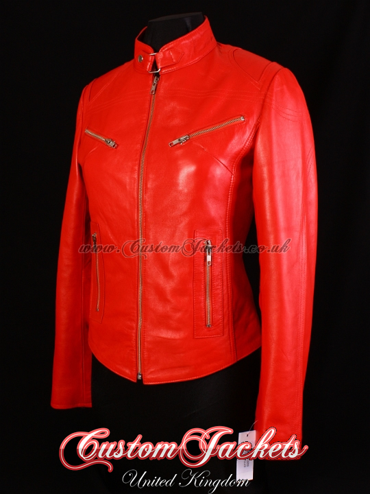 bb4814beccb Ladies RUSH Bright Lipstick Red Lambskin Real Leather Motorcycle Slim-fit  Fitted Biker Style Womens Jacket