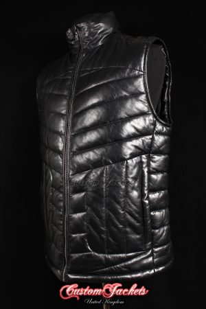 Men's FORMULA Black Lambskin Quilted Designer Puffer Real Leather Waistcoat Vest