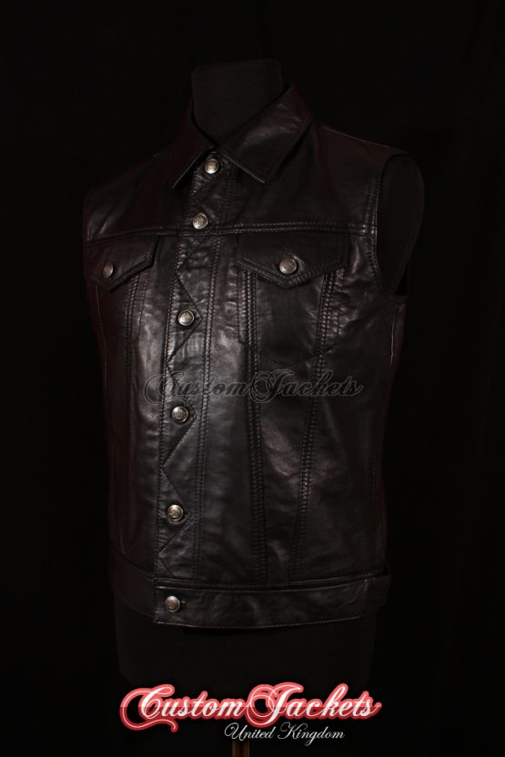 Men's TRUCKER Black Lambskin Leather Classic Cruiser Motorcycle Biker Style Western Waistcoat Vest