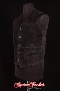 Men's AUTOGRAPH Black Suede Real Genuine Soft Hide Leather Smart Waistcoat
