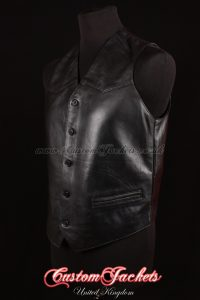 Men's AUTOGRAPH Black Lambskin Real Genuine Soft Leather Smart Waistcoat