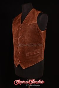 Men's AUTOGRAPH Brown Suede Real Genuine Soft Hide Leather Smart Waistcoat