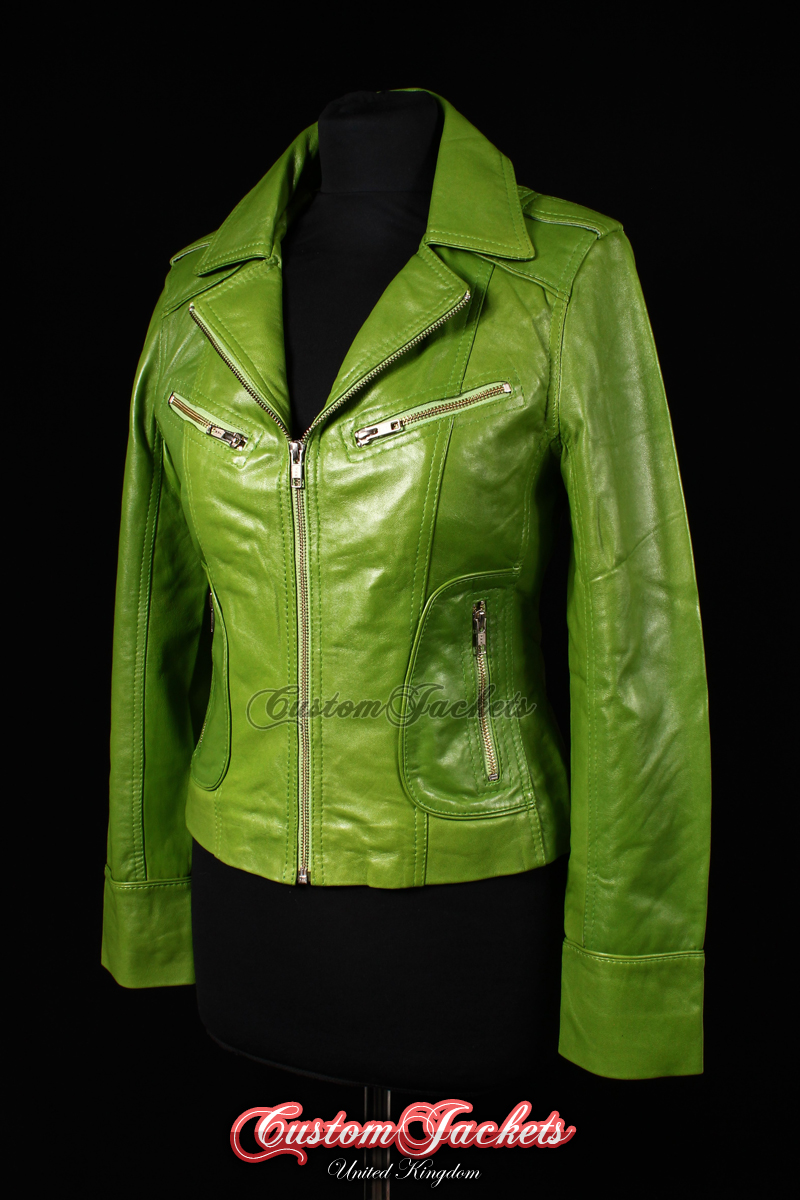 69704986e12b Ladies ESCAPE Lime Green Washed Lambskin Leather Motorcycle Biker Style  Jacket