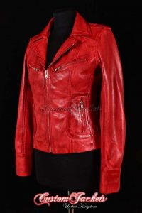 Ladies ESCAPE Red Washed Soft Lambskin Real Leather Motorcycle Biker Style Jacket