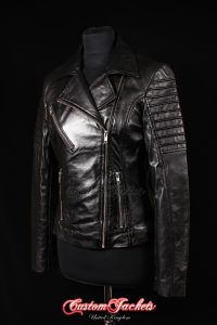 Ladies FURIOUS Black Lambskin Real Leather Short Fitted Motorcycle Womens Cool Biker Style Jacket