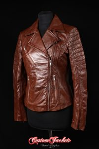 Ladies FURIOUS Brown Washed Lambskin Real Leather Short Fitted Motorcycle Womens Cool Biker Style Jacket