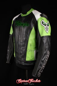 Men's CYBORG RACING NINJA Green Cowhide Leather Motorcycle Motorbike Moto GP Jacket