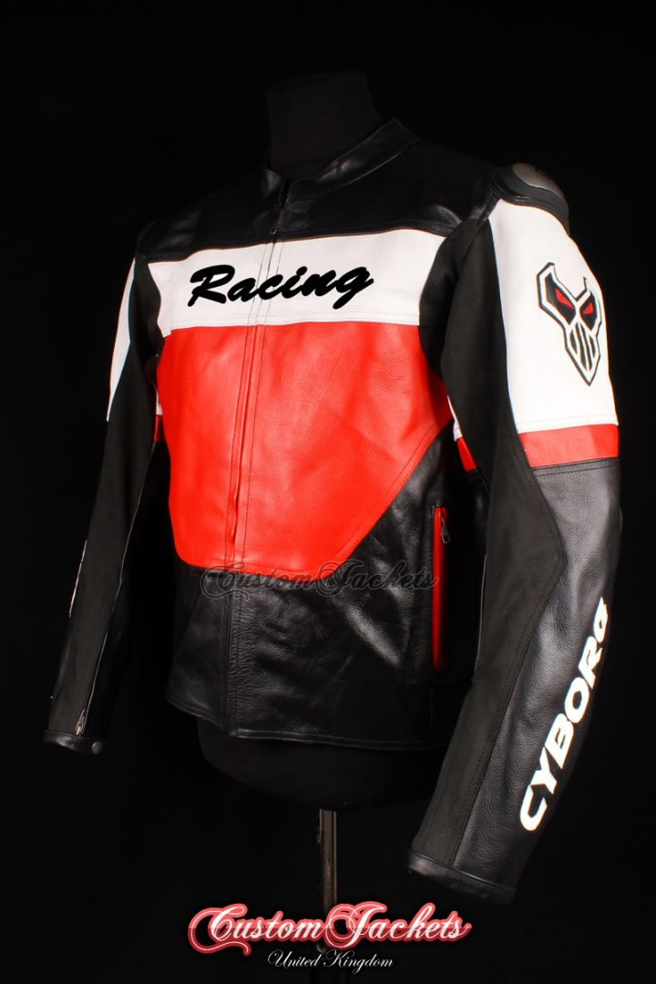 Men's CYBORG RACING Red & Black Cowhide Leather Motorcycle Motorbike Moto GP Jacket