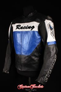 Men's CYBORG RACING Blue & Black Cowhide Leather Motorcycle Motorbike Moto GP Jacket