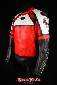 Men's CYBORG MOTO GP Red & Black Cowhide Leather Motorcycle Motorbike Racing Superbike Jacket