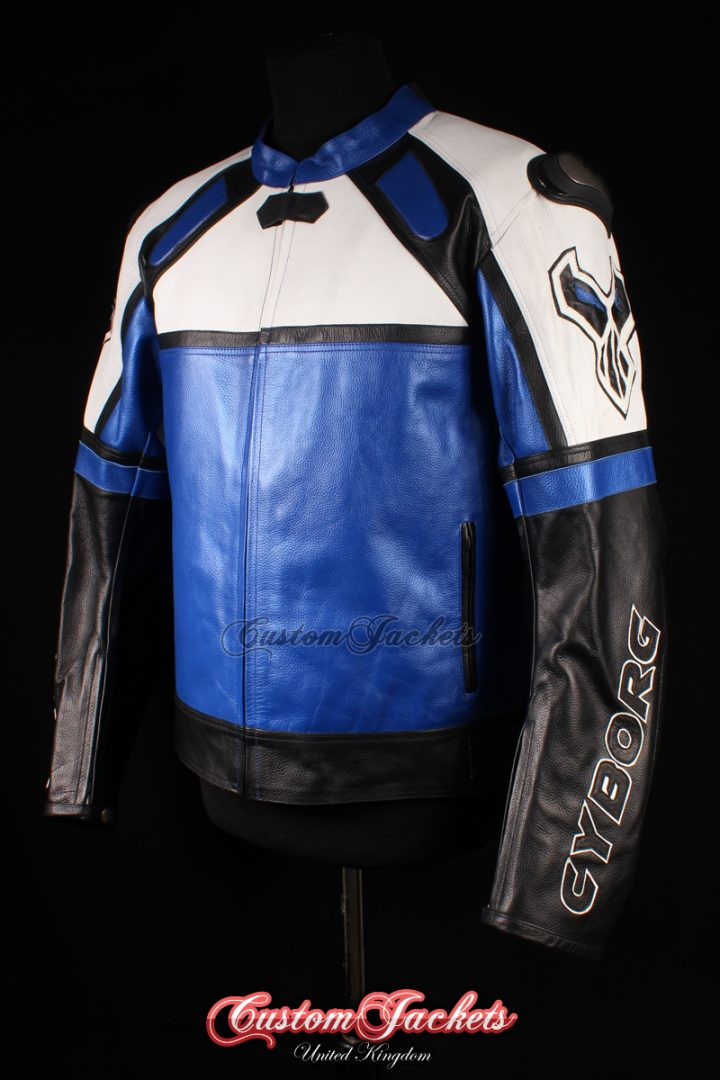 Men's CYBORG MOTO GP Blue & Black Cowhide Leather Motorcycle Motorbike Racing Superbike Jacket