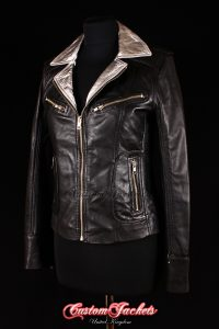 Ladies ESCAPE Black & Silver Collar Real Lambskin Leather Motorcycle Fitted Biker Style Jacket