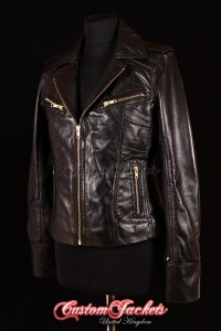 Ladies ESCAPE Black with Gold Zips Real Lambskin Leather Motorcycle Biker Style Jacket