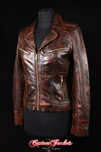 Ladies ESCAPE Antique Brown Genuine Lambskin Leather Motorcycle Biker Style Jacket