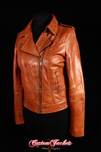 Ladies BARCELONA Tan Washed Lambskin Short Womens Biker Style Real Leather Jacket