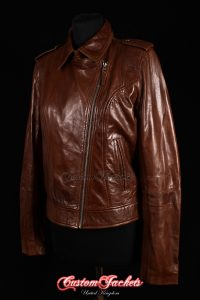 Ladies BARCELONA Brown Washed Lambskin Soft Retro Cool Short Biker Style Real Leather Jacket