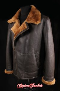 Men's NAVIGATOR Brown & Whisky Fur Real Genuine British Sheepskin B3 RAF USAF WW2 Aviator Bomber Jacket Coat